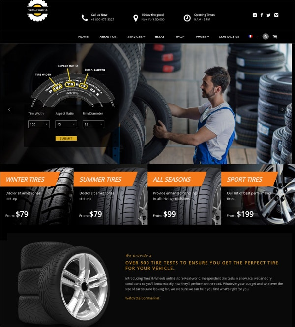 Wheels & Tires Shop WordPress Theme $59