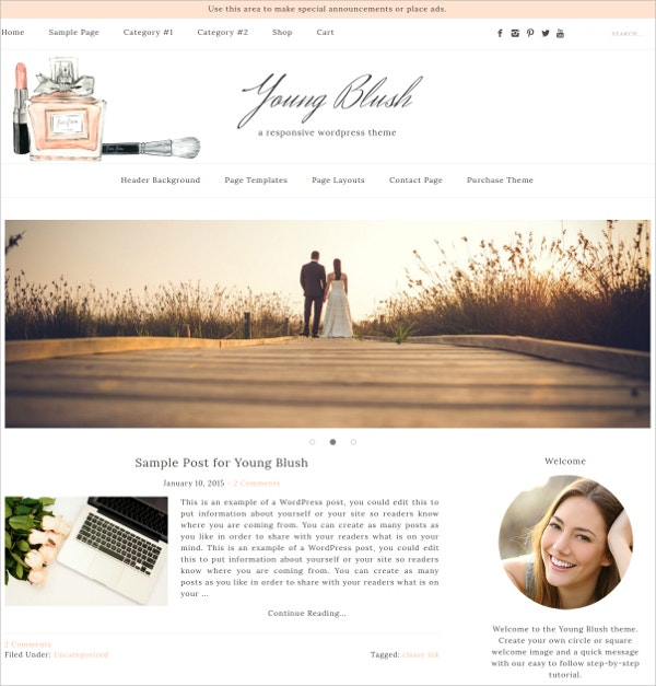 Feminine WordPress Theme $20