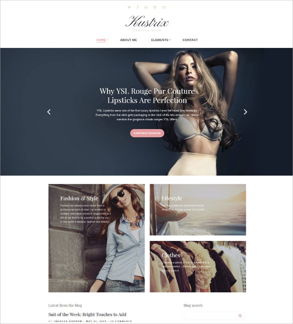 Fashion Blog Website Template $38