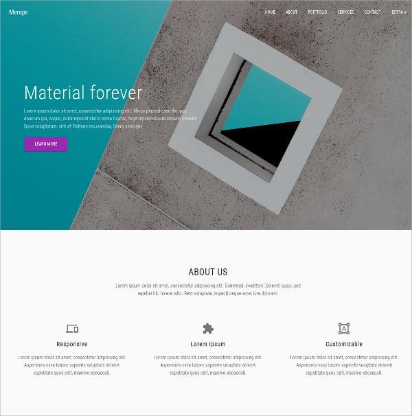 Material Design Portfolio Blog Bootstrap Template $14