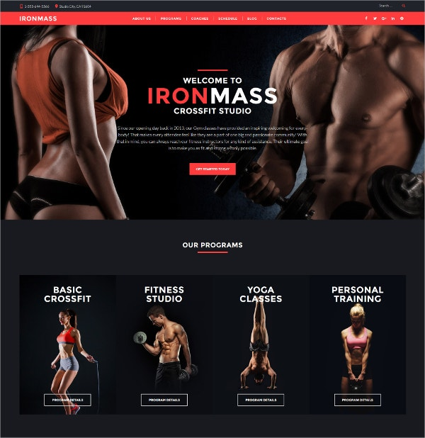 Fitness & Healthy Responsive WordPress Theme $38