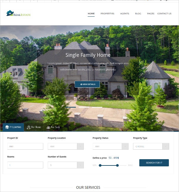 Real Estate Bootstrap Responsive Template $16
