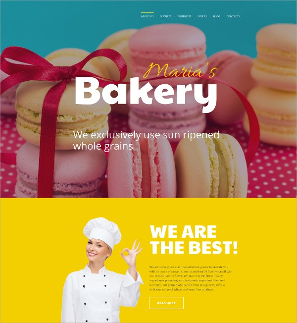 Bakery Responsive Bootstrap Blog Template $100