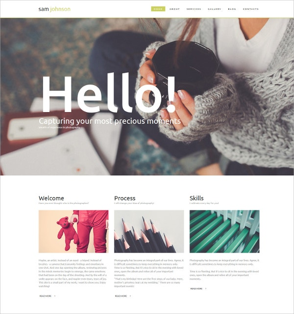Photographer Portfolio Blog Gallery Template $100