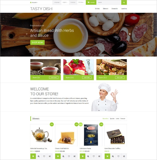 Tasty Food OpenCart Blog Template $89