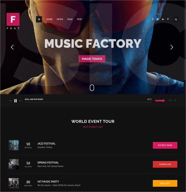 WordPress Blog Themes For Musicians $45