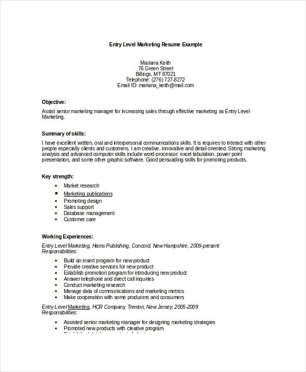 marketing resume template 10 free word pdf documents download - Marketing Resume Examples Entry Level