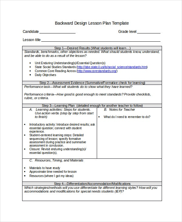 Differentiated Instruction Template Free Word PDF Document - Understanding by design lesson plan template