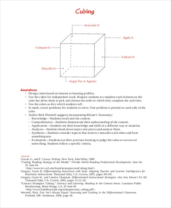 Differentiated Instruction Cube Template