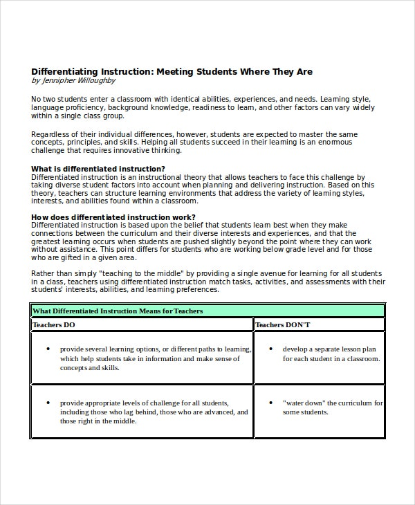 Differentiating Instruction Meeting Template