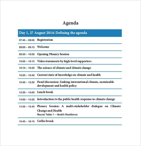 health organisation conference agenda template