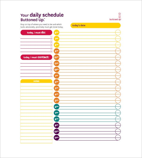 daily agenda template free