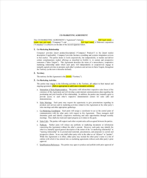 co promotion agreement template marketing agreement template 11 free word excel pdf