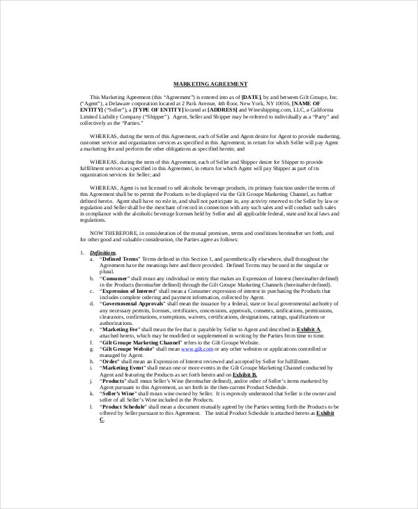Marketing Contract Template – 9+ Free Word, Excel, PDF Documents ...