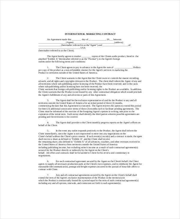 Marketing contract template 9 free word excel pdf for International trade contract template