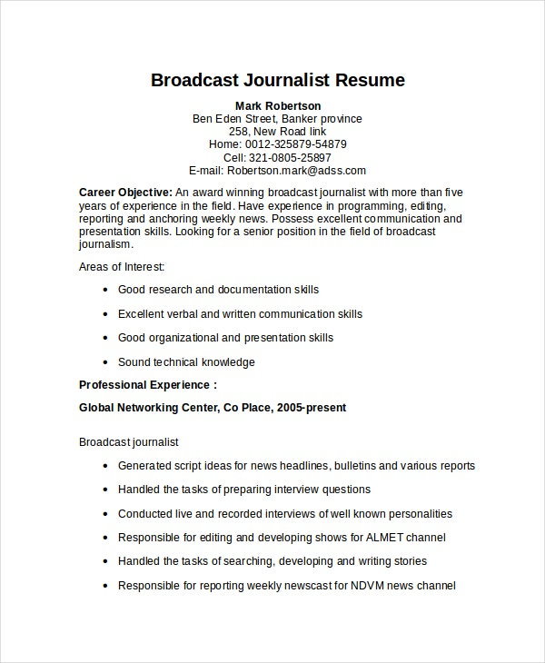 Superb 5+ Journalist Resume Templates On Broadcast Journalism Resume
