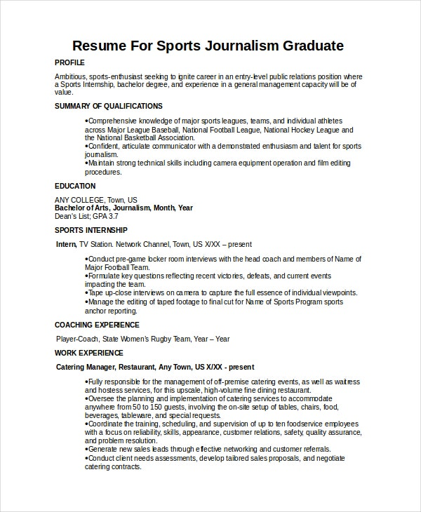 Resume For Sports Journalism Graduate