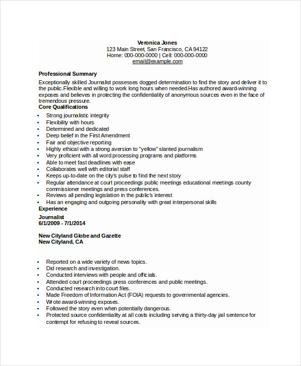 Gentil Sample Journalist Resume