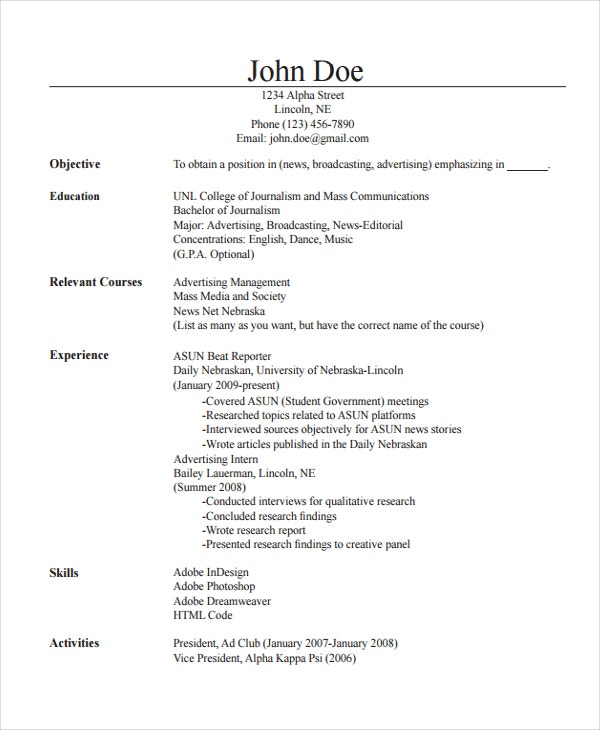 Mass Communication Journalism Resume  News Reporter Resume