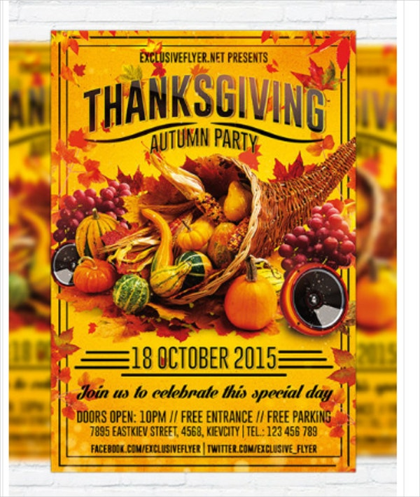 Thanksgiving Autumn Party Flyer