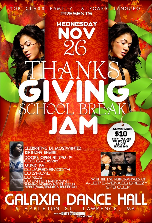 Thanksgiving School Break Jam Flyer