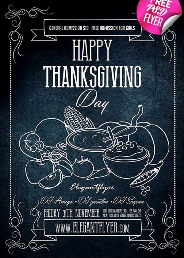 Happy Thanksgiving Free PSD Flyer