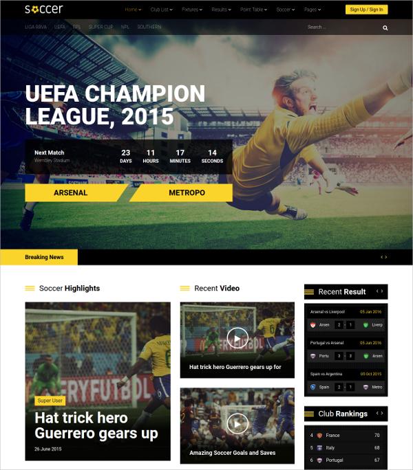 sports soccer club joomla theme