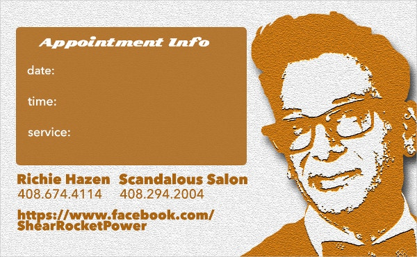 appointment card for hairdresser