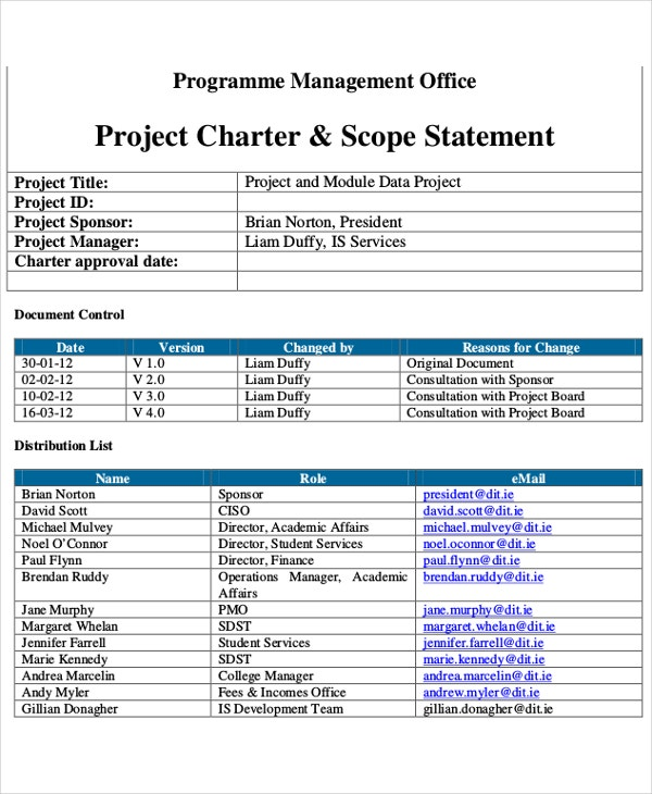 project management charter