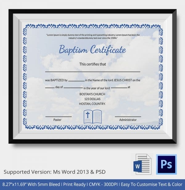 picture relating to Free Printable Baptism Certificates titled Baptism Certification - 16+ Absolutely free Phrase, PDF Files Obtain