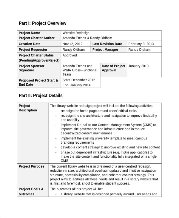 Project Charter Templates  Free Sample Example Format Download