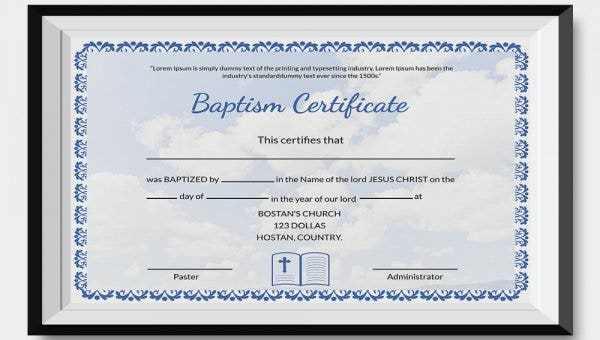 graphic relating to Free Printable Baptism Certificates called 24+ Pattern Baptism Certification Templates - Absolutely free Pattern