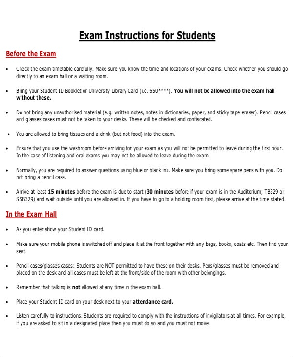 exam instruction template
