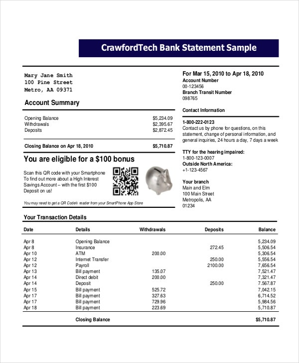 personal bank statement template
