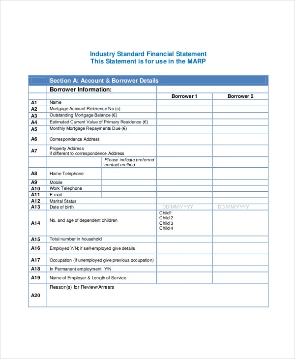 Industry Standard Financial Statement Template  Blank Bank Statement Template