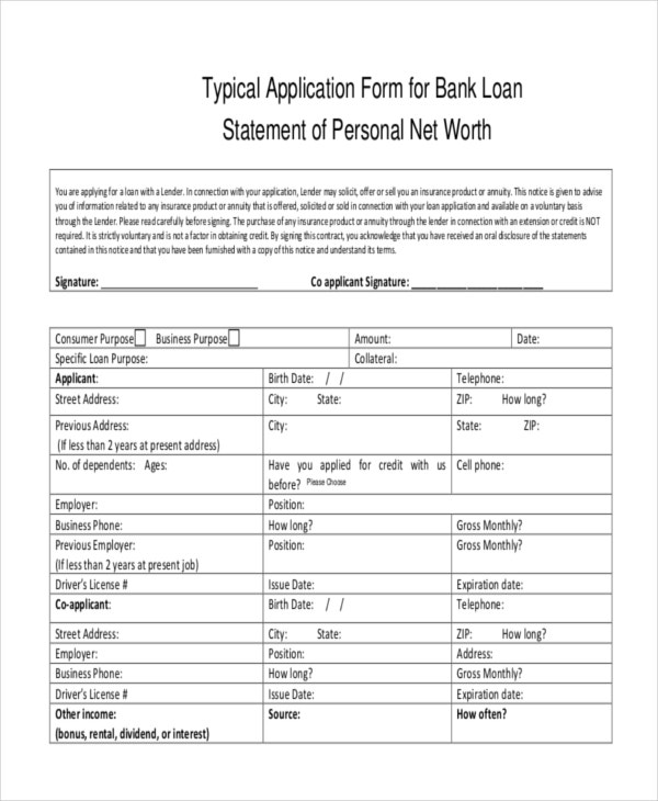 Application Form for Bank Loan Statement Template