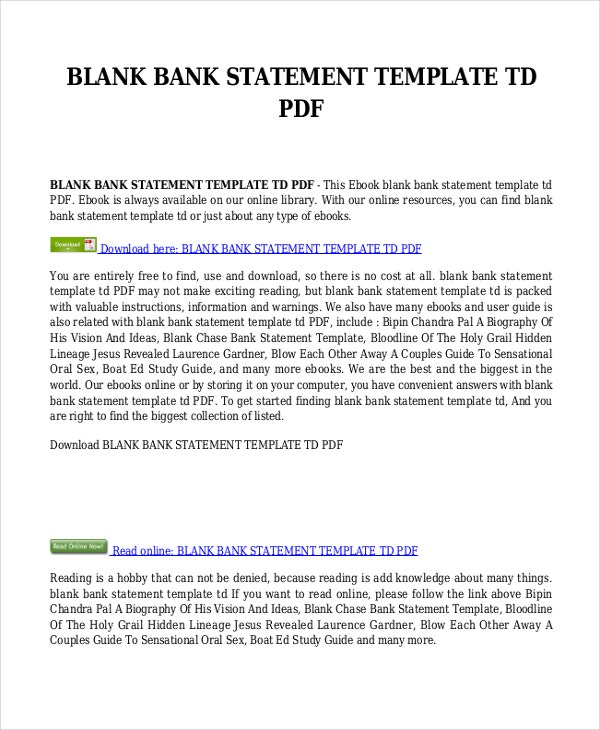 Bank Statement Template 9 Free Word PDF Document Downloads – Blank Bank Reconciliation Template