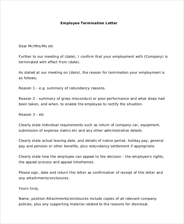 Termination Letter 10 Free Word Excel PDF Documents Download – Employee Termination Letter