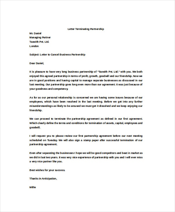 Partnership Termination Letter