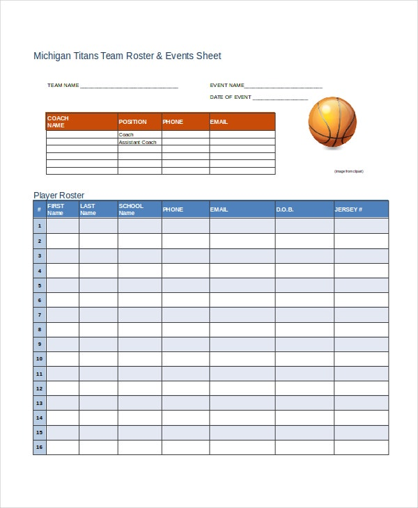 Roster Template 8 Free Word Excel PDF Document Downloads – Football Roster Template