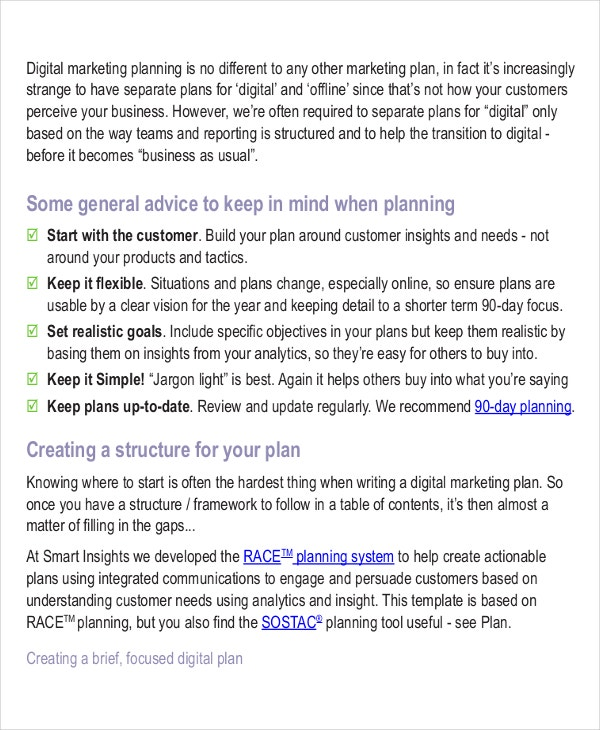 digital marketing strategy planning template