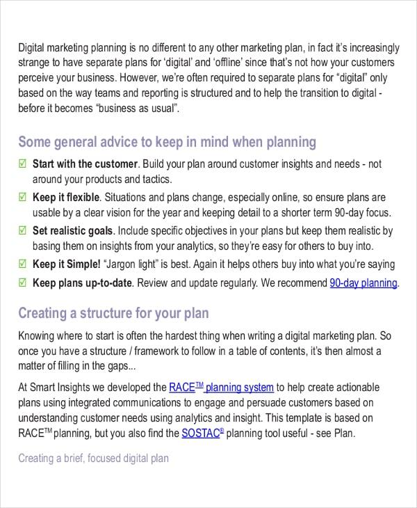 digital marketing strategy planning template