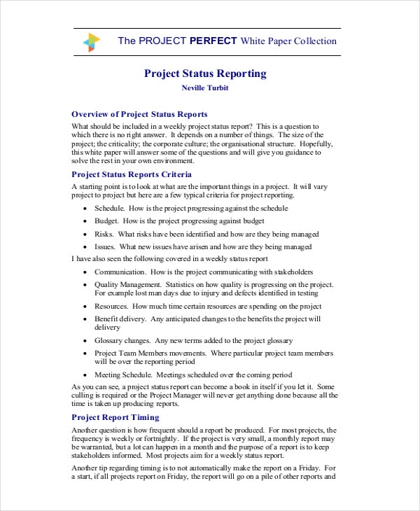 8 Project Report Templates Free Sample Example Format – Sample Status Reports