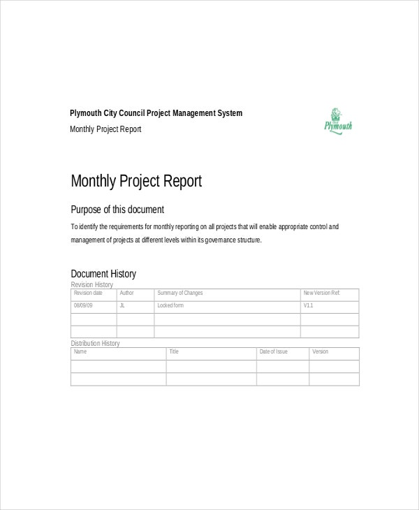 Monthly Project Report Template