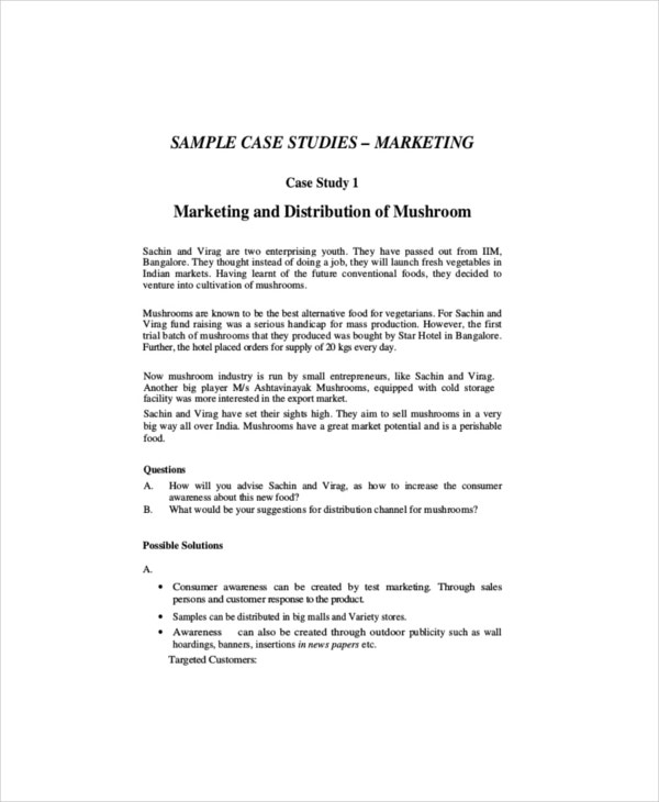 Marketing case study template 8 free word pdf for Template for writing a case study