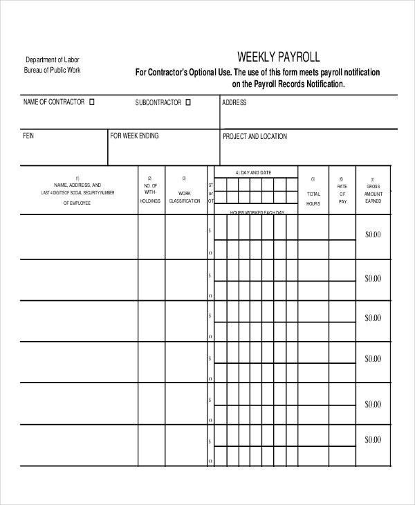 Weekly Payroll Template  Free Payroll Templates