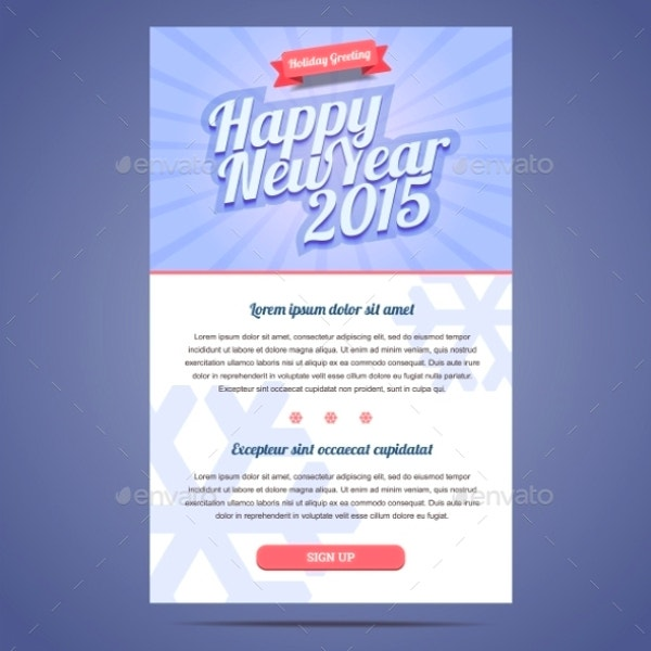 Happy New Year Holiday Greeting Email Template