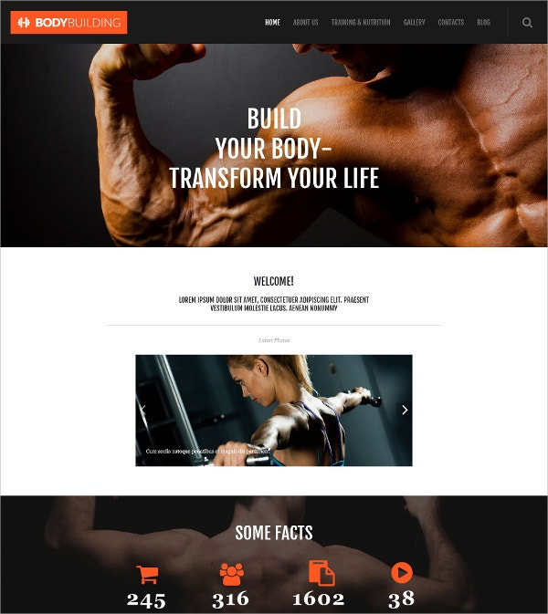 Fitness & Build Body WordPress Theme $75