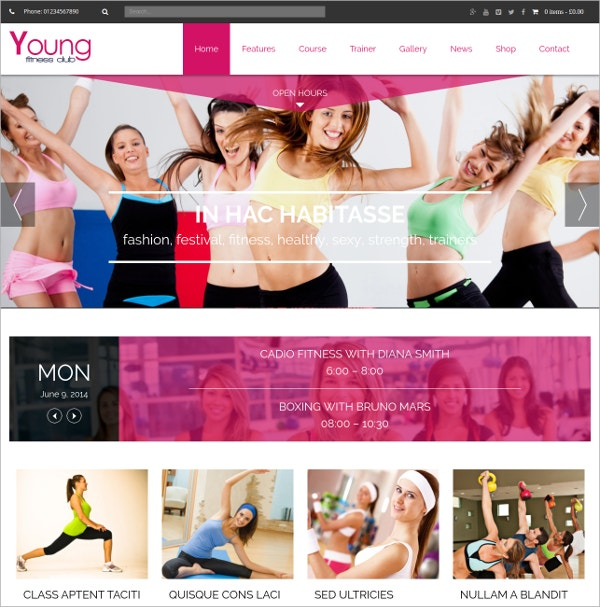 Spa & Fitness WordPress Theme $59