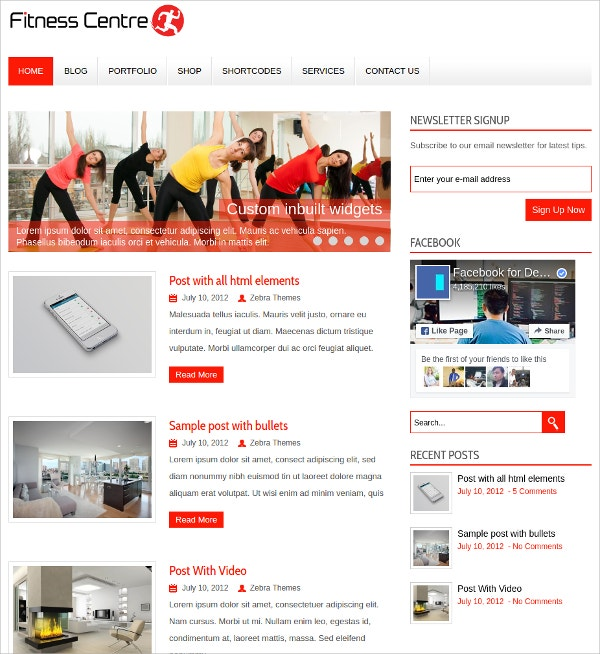 Fitness Center WordPress Theme